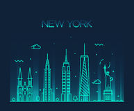 New York City skyline silhouette line art style Stock Images