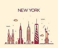 New York City skyline silhouette line art style Royalty Free Stock Photo