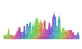 New York City skyline silhouette - multicolor line art Royalty Free Stock Images