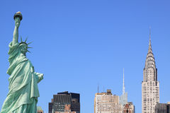 New York City Skyline and The Statue of Liberty stock images