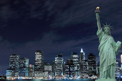 New York City Skyline and The Statue of Liberty Stock Photography