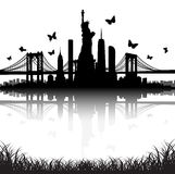 New York City skyline Statue of Liberty butterfly vector Stock Photos