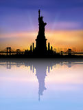 New York City skyline Statue of liberty Vector Royalty Free Stock Images