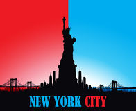 New York City skyline Statue of liberty Vector Royalty Free Stock Photography