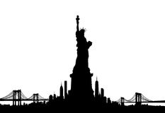 New York City skyline Statue of liberty Vector Royalty Free Stock Photo