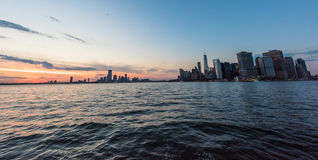 New York City skyline at sunset. From Governor's Island Royalty Free Stock Image