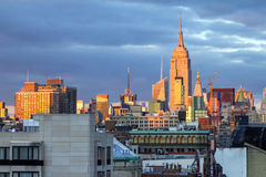 New York City Skyline at Sunset Royalty Free Stock Images