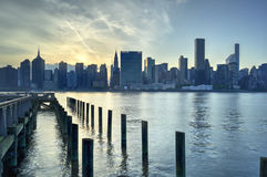 New York City Skyline Sunset Stock Image