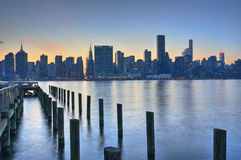 New York City Skyline Sunset Stock Photos