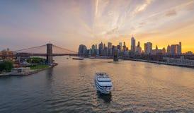 New York City,Skyline at sunset,  USA Royalty Free Stock Photography