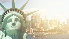 New york city skyline sunshine ray. famous new york city cityscape Royalty Free Stock Images