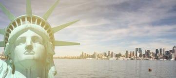 New york city skyline sunshine ray. famous new york city cityscape Royalty Free Stock Photography