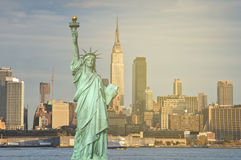 New york city skyline sunshine ray. famous new york city cityscape Stock Photo