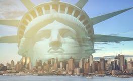 New york city skyline sunshine ray. famous new york city cityscape Stock Images