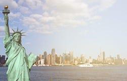New york city skyline sunshine ray. famous new york city cityscape Royalty Free Stock Photos