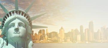 New york city skyline sunshine ray. famous new york city cityscape Royalty Free Stock Photo