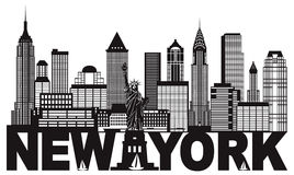 New York City Skyline and Text Black and White Illustration. New York City Skyline with Statue of Liberty and text Black and White Outline Illustration Stock Images