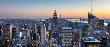 New York City skyline with urban skyscrapers at dusk, USA. Royalty Free Stock Photos