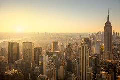 New York City skyline with urban skyscrapers at gentle sunrise Stock Image