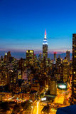 New York City skyline with urban skyscrapers at sunset. Royalty Free Stock Photo