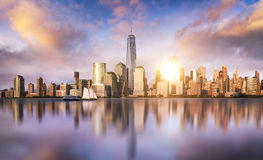 New York City skyline. With urban skyscrapers at sunset, USA Stock Image