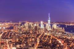 New York City skyline with urban skyscrapers Stock Photos