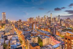 New York City Skyline. New York, New York, USA downtown city skyline at dusk stock photography