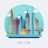 New York City. Skyline and vector landscape of buildings and the. Statue of Liberty. Vector illustration Royalty Free Stock Photo