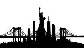 New York City skyline vector. New York City skyline with Statue of Liberty vector stock illustration