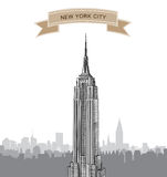 New York City Skyline. Vector USA landscape. Hand drawn sketch  background Stock Photo