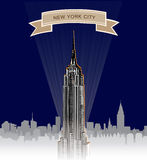 New York City Skyline. Vector USA landscape. Hand drawn sketch  background. New York Skyline at night. Vector USA landscape. Cityscape in the early morning Stock Image