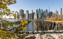 New York City Skyline. View of New York City skyline from Brooklyn Royalty Free Stock Photos
