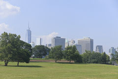 New York City Skyline. View of new york city downtown area from Governors Island Stock Images
