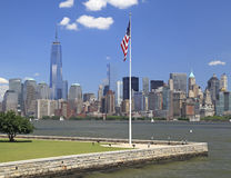 New York City skyline. View from Ellis Island, USA Royalty Free Stock Photos