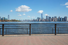New York city skyline view from empty dock terrace. In summer, blue sky stock images