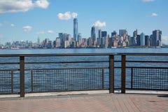 New York city skyline view from empty dock terrace Royalty Free Stock Photo