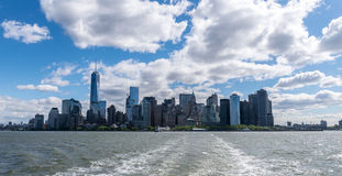 New York City Skyline View From Hudson River Stock Images