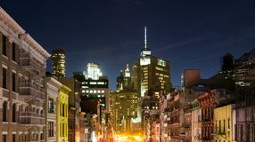 New York City skyline view at night of the buildings in lower Manhattan. With colorful lights royalty free stock photography