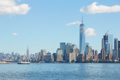 New York city skyline view with skyscrapers with blue sky Stock Images