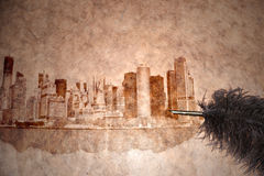 New york city skyline on a vintage paper Royalty Free Stock Photos