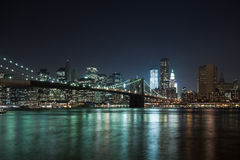 The New York City skyline w Brooklyn Bridge Royalty Free Stock Photos