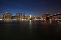 The New York City skyline w Brooklyn Bridge Stock Photo