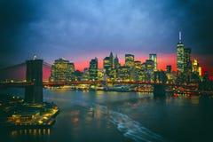 The New York City skyline w Brooklyn Bridge Royalty Free Stock Image