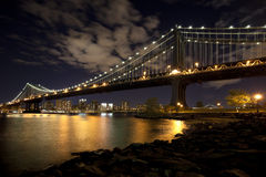 The New York City skyline w Manhattan Bridge Stock Image