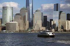 New York City Skyline on water featuring One World Trade Center (1WTC), Freedom Tower, New York City, New York, USA City, New York Stock Photo