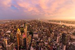 Free New York City Skyline With Manhattan Skyscrapers At Dramatic Stormy Sunset, USA. Stock Image - 155933541
