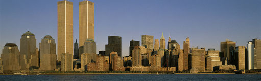 New York City skyline with World Trade Towers Stock Photos