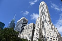 New York City skyscraper in Midtown Manhattan. On a sunny day with trees and a blue sky royalty free stock image