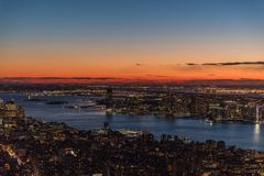 New York City skyscrapers, aerial panorama view. In winter royalty free stock image