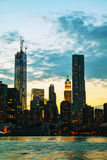 New York City skyscrapers in the evening Stock Images
